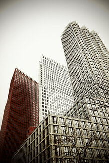 Netherlands, The Hague, facades of high rise office buildings at financial district - HOHF000487