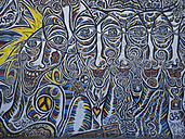 Germany, Berlin, detail of graffiti on Berlin wall - LA000548