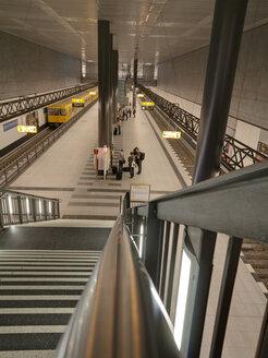 Germany, Berlin stair to underground station platform at central station - LA000550