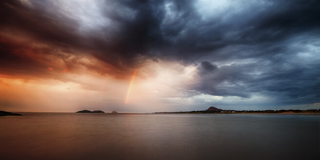 UK, Scotland, East Lothian, North Berwick, rainbow at sunset - SMA000180