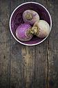 May turnip (Brassica rapa ssp. rapa var. majalis) in a bowl - LVF000647