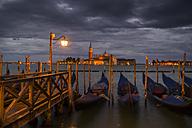 Italy, Venice, Gondolas and church San Giorgio Maggiore - EJW000278