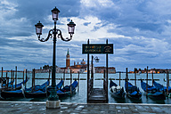 Italy, Venice, Gondolas and church San Giorgio Maggiore - EJWF000275