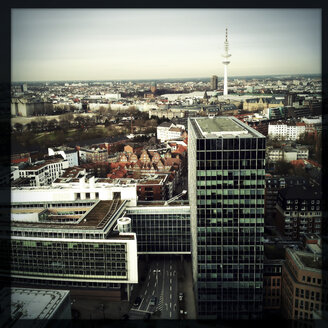 View from above of downtown, modern building and TV tower. Hamburg, Germany - ZMF000220