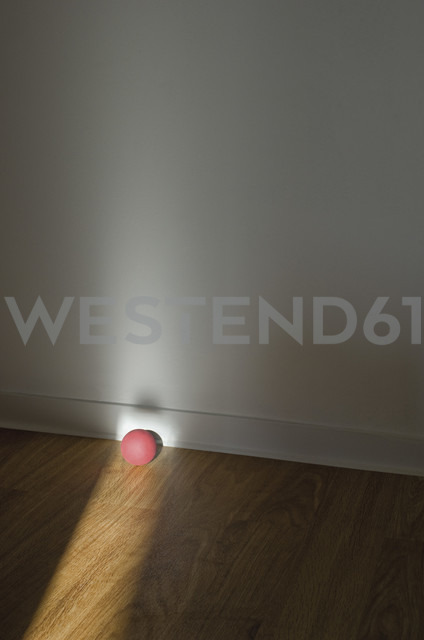 Pink rubber ball on wooden floor - MUF001425