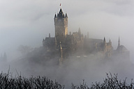 Germany, Rhineland-Palatinate, Cochem, Cochem Imperial castle in the fog - PA000412