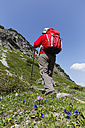 Austria, Vorarlberg, Biosphere Reserve Great Walser Valley, Upper Laguz Alpe, female hiker - SIEF005065