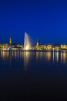Germany, Hamburg, Binnenalster with skyline at blue hour - KRP000288