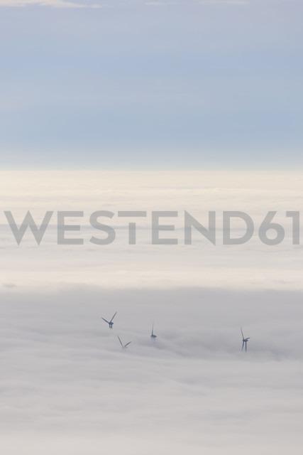 Germany, Baden-Wuerttemberg, Black Forest, wind turbines befogged - LAF000605