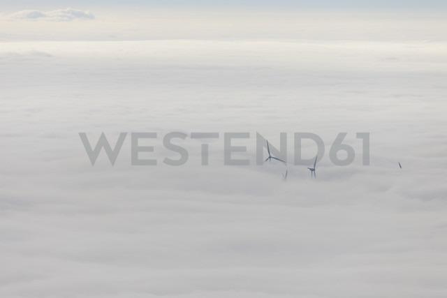 Germany, Baden-Wuerttemberg, Black Forest, wind turbines befogged - LAF000607