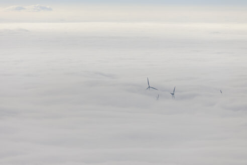 Germany, Baden-Wuerttemberg, Black Forest, wind turbines befogged - LAF000607