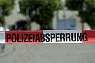 Germany, Constance, Close up of police barrier tape - JEDF000144