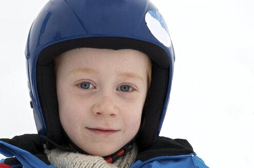 Germany, Eschach, Boy with ski helmet - JED000138