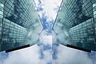 Switzerland, Canton Zurich, Zurich, Prime Tower and reflection, view from below - EL000880