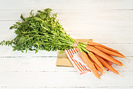 Bunch of organic carrots on cloth and white wooden table - MAEF007934