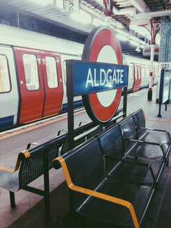 Underground sign at Aldgate station in London, UK - MEA000120
