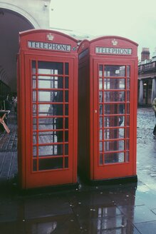 Two red telephone booths near Covent Garden in London, UK - MEAF000118