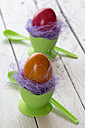 Easter eggs in green eggcups, egg spoons - SARF000263