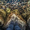 Austria, Mondsee, man standing at lake front - WV000448
