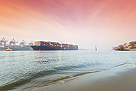 Germany, Hamburg, incoming Container ship MOL Quest, harbour, beach Oevelgoenne, in the morning - MS003404