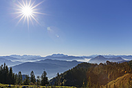 Germany, Upper Bavaria, Bavaria, Chiemgau Alps, View from top station Kampenwandbahn to Loferer Steinberge - SIEF005101