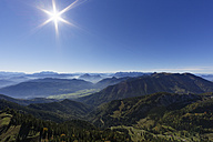 Germany, Upper Bavaria, Bavaria, Chiemgau Alps, View from Kampenwand against the sun - SIEF005097