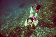 Croatia, Brac, Sumartin, Teenage girl under water - DISF000596