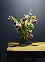 Flower vase of withered cornflowers (Centaurea cyanus) in front of dark background - KSW001233