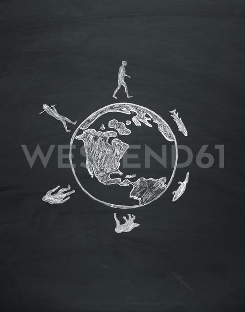 Evolution of human on a blackboard - MW000016