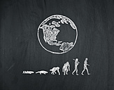 Evolution of human on a blackboard - MW000015