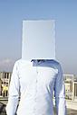 Man's face hidden behind light blue rectangle - FMK000978