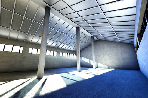 Architecture visualization of an empty industrial building, 3D Rendering - SPCF000016
