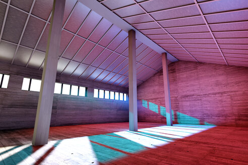 Architecture visualization of an empty industrial building, 3D Rendering - SPCF000013