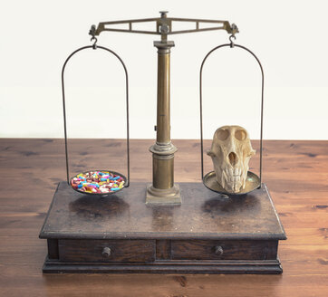 Old scales with lots of tablets on one side and baboon skull on the other - MW000020