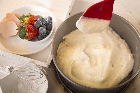 Filling dough in a cake pan, studio shot - CSTF000099