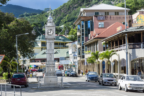Seychelles, Mahe, Victoria, Clock Tower Albert Street and Independence Avenue - WEF000030