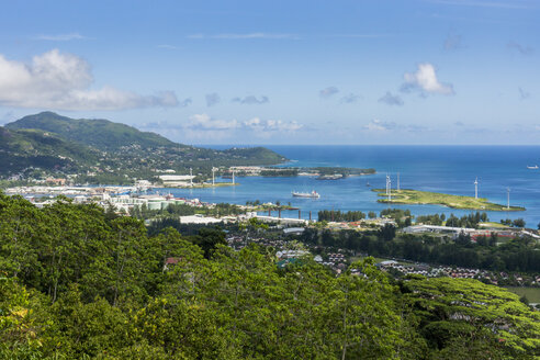 Seychelles, Mahe, Victoria, Harbor and wind turbines - WEF000027