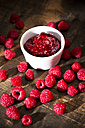 Bowl of raspberry jam and raspberries on wooden table - MAEF008007