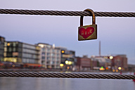 Germany, Munster, love lock at the city harbor - WIF000469
