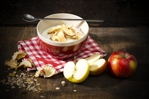 Bowl of lactose-free yogurt with dried apple rings and and apples on wooden table - MAEF008083