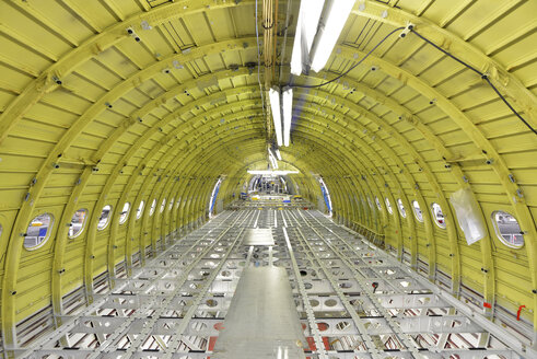 Interior of an unfinished airplane in a hangar - SCH000031