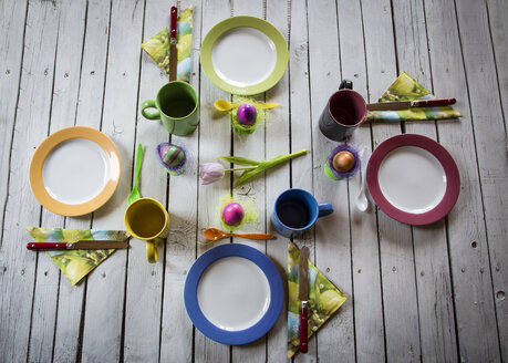 Festive laid breakfast table with Easter eggs - SARF000309