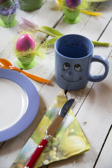Festive laid breakfast table with Easter egg - SARF000307