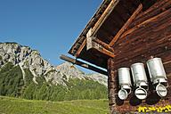 Austria, Salzburg State, Untertauern, Pongau, alpine cabin, milk churns - HHF004754