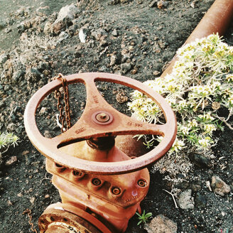 Tap of a water pipeline, La Palma, Canary Islands, Spain - SEF000587