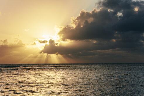 USA, Hawaii, Oahu, Sunset with light rays on the sea - AMCF000051