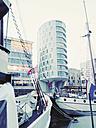Traditional Ship Harbor Sandtorhafen and houses Kaiserkai, HafenCity, Hamburg, Germany - MSF003416
