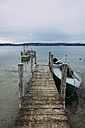 Germany, Baden-Wuerttemberg, Lake Constance, Iznang, Jetty - ELF000906