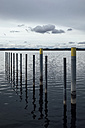 Germany, Baden-Wuerttemberg, Constance district, Iznang, harbour, landing stage, bollards - ELF000905