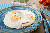 Fried eggs on blue plate - CSTF000129